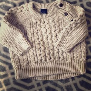 BABY GAP Ivory Cable Knit Cotton Pullover Sweater
